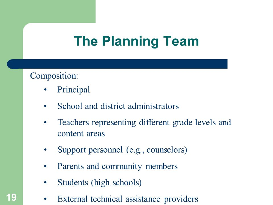 The Planning Team Composition: Principal