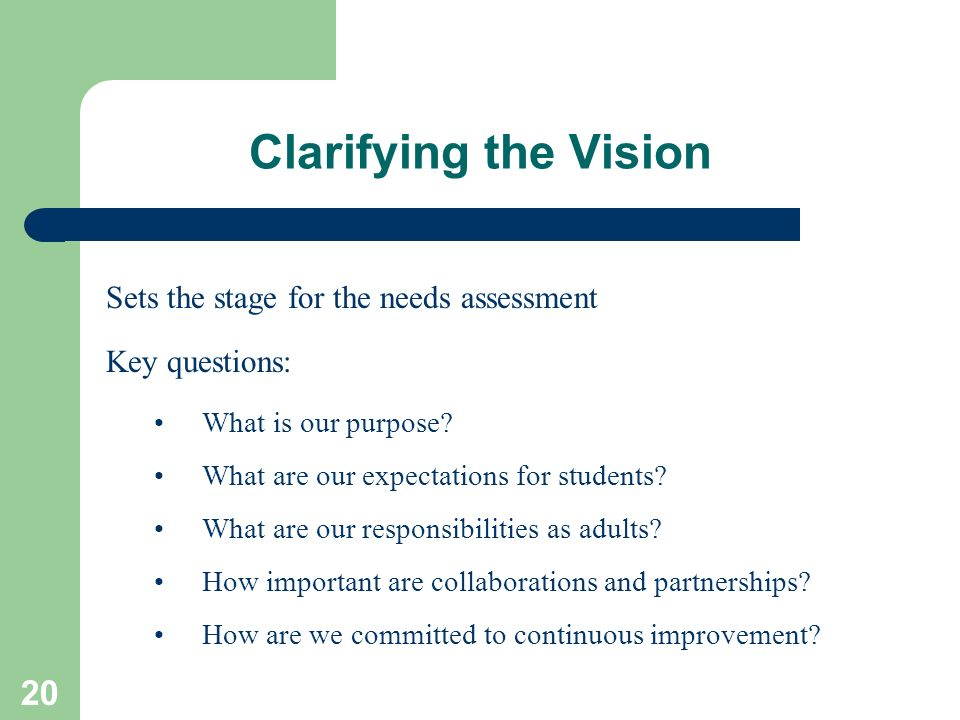 Clarifying the Vision Sets the stage for the needs assessment