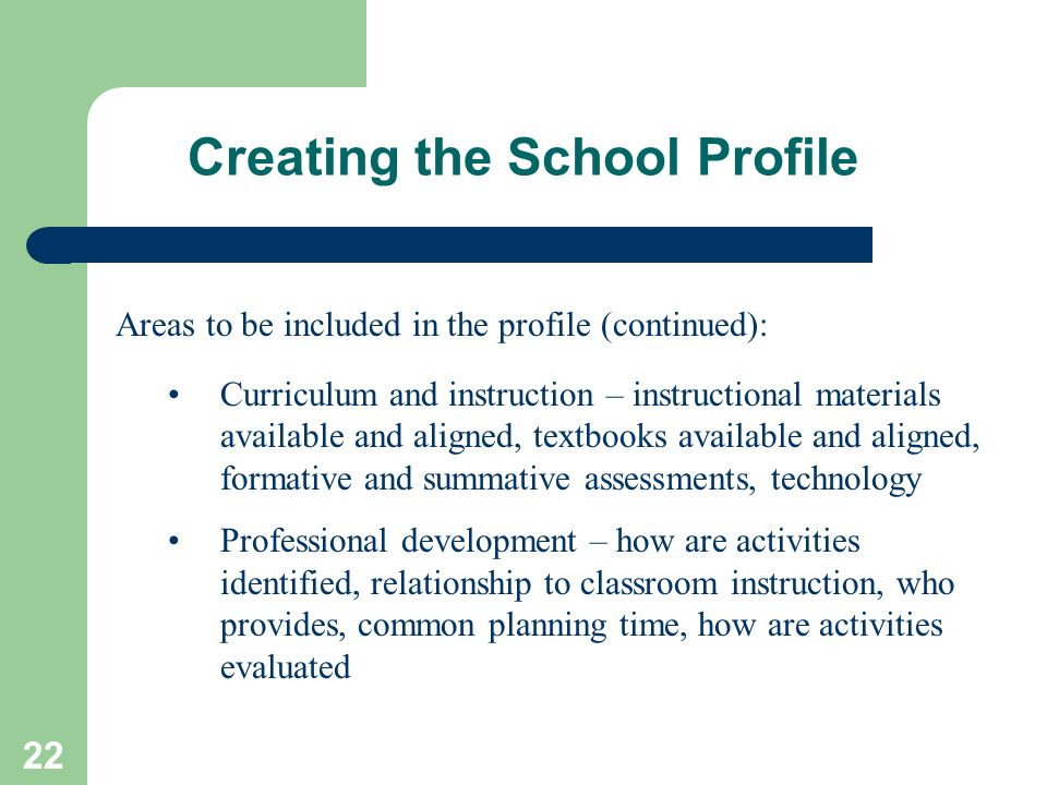 Creating the School Profile