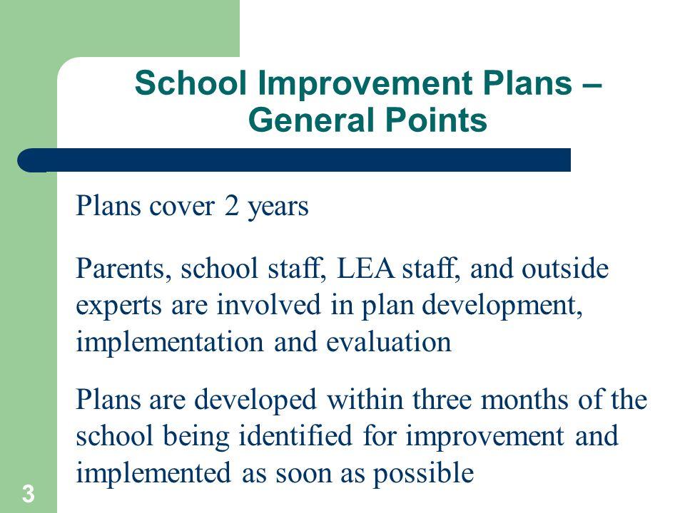 School Improvement Plans – General Points