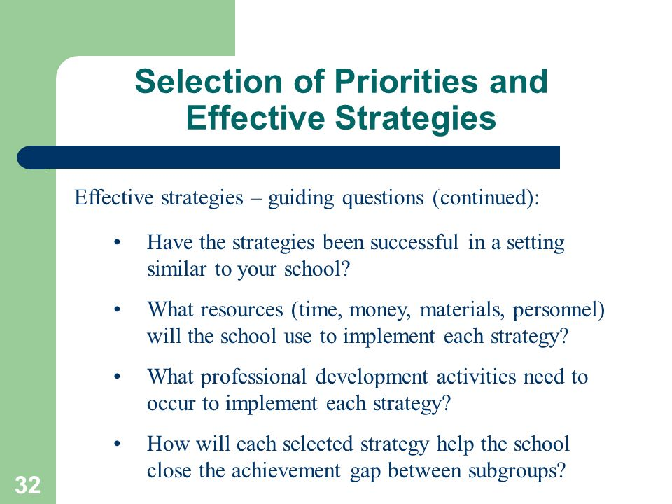 Selection of Priorities and Effective Strategies