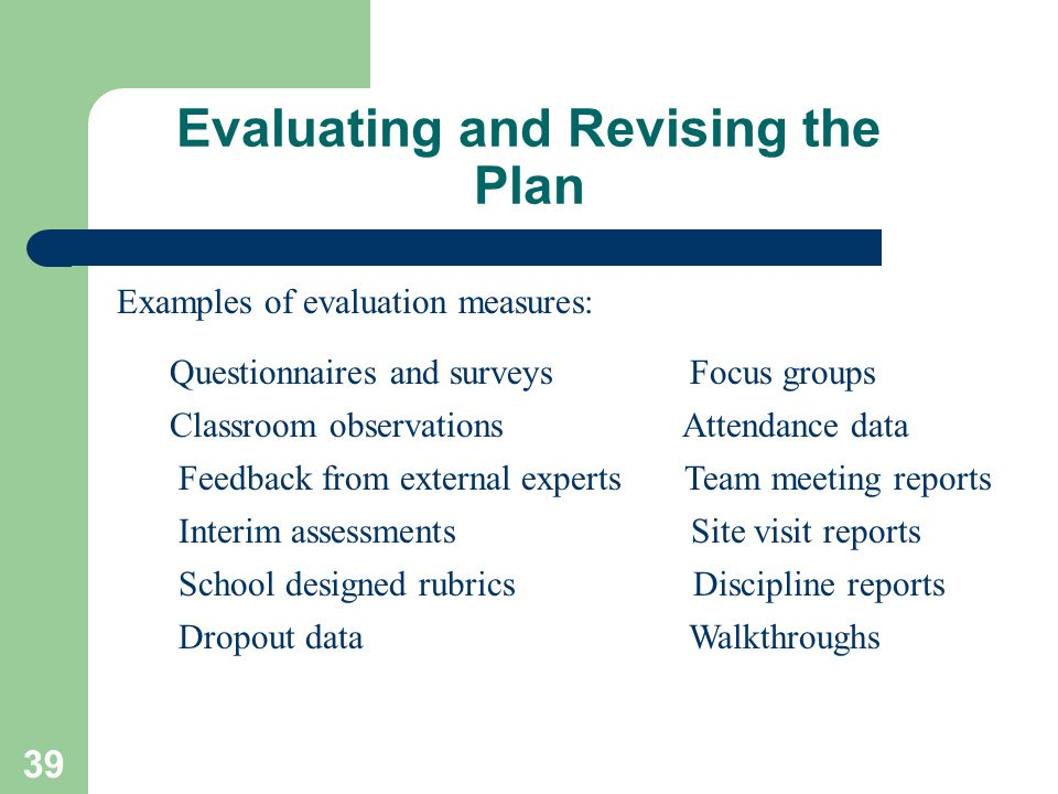 Evaluating and Revising the Plan