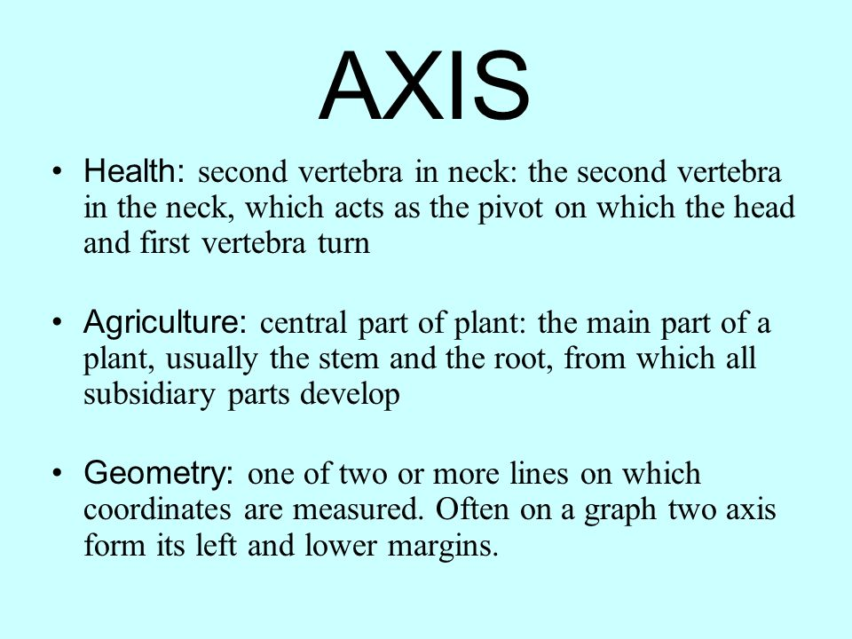 AXIS Health: second vertebra in neck: the second vertebra in the neck, which acts as the pivot on which the head and first vertebra turn.