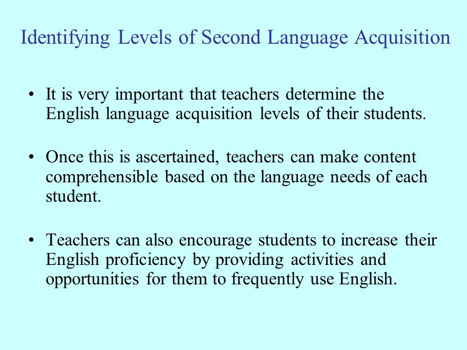 Identifying Levels of Second Language Acquisition