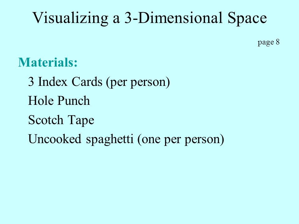 Visualizing a 3-Dimensional Space page 8