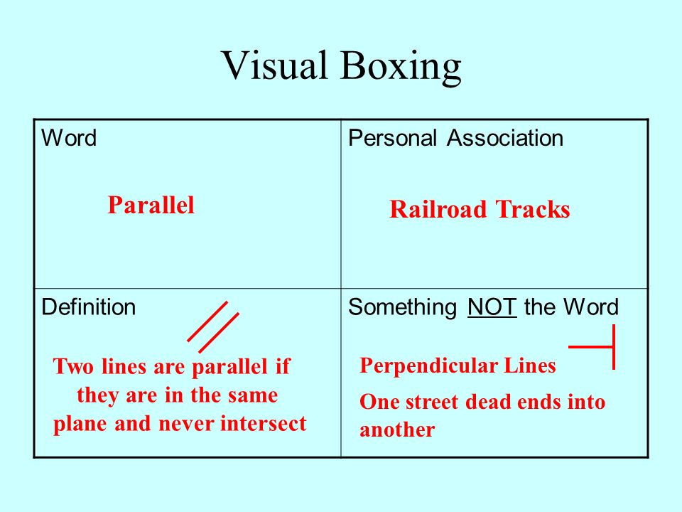 Visual Boxing Word Parallel Personal Association Railroad Tracks