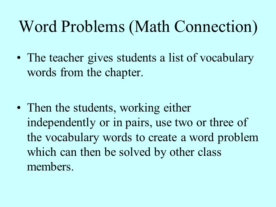 Word Problems (Math Connection)
