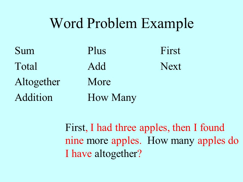 Word Problem Example Sum Plus First Total Add Next Altogether More