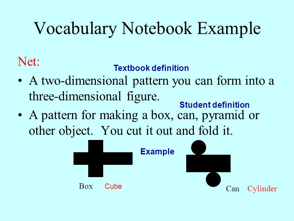 Vocabulary Notebook Example
