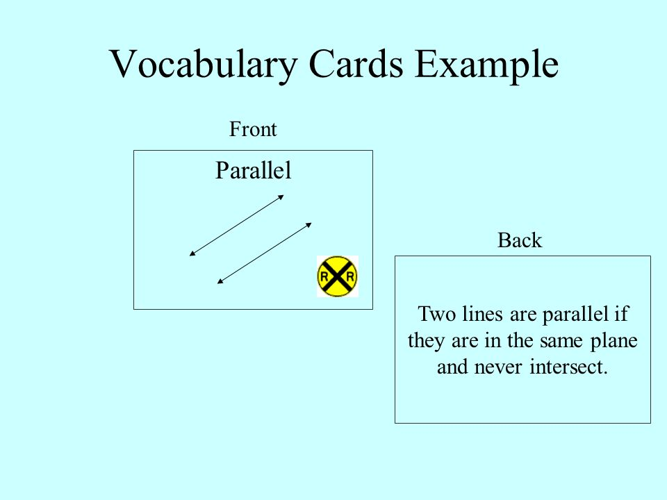 Vocabulary Cards Example