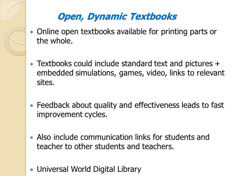 Open, Dynamic Textbooks