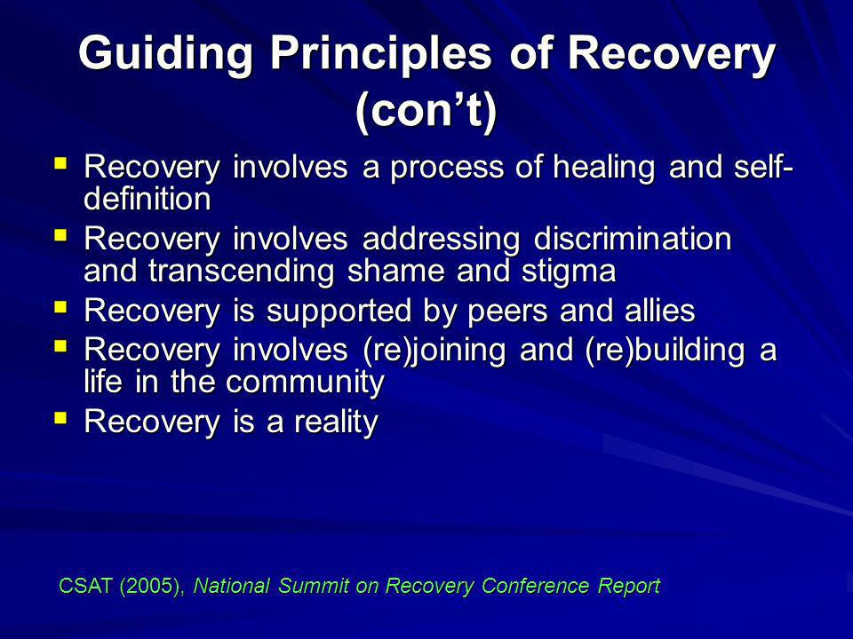 Guiding Principles of Recovery (con't)