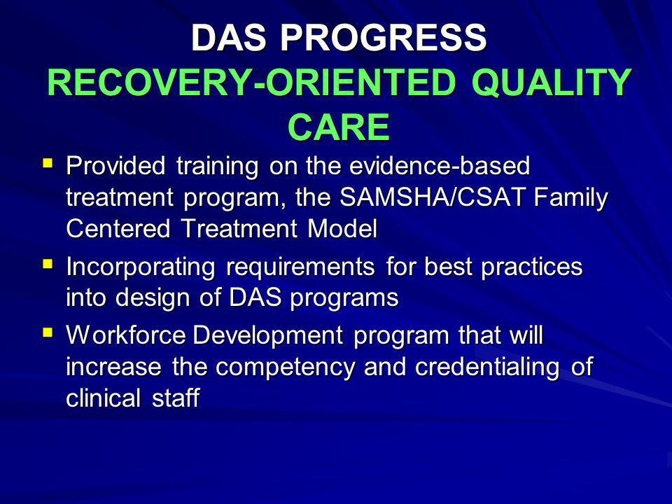 DAS PROGRESS RECOVERY-ORIENTED QUALITY CARE