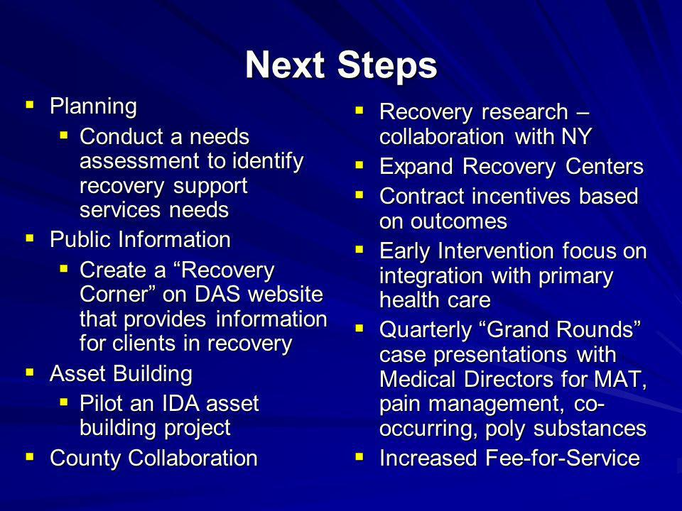Next Steps Planning Recovery research – collaboration with NY