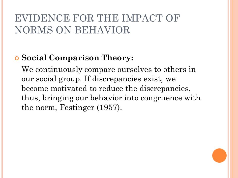 EVIDENCE FOR THE IMPACT OF NORMS ON BEHAVIOR