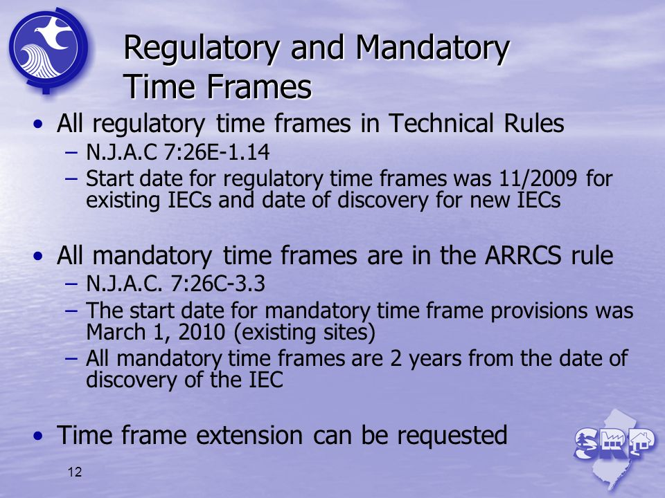 Regulatory and Mandatory Time Frames