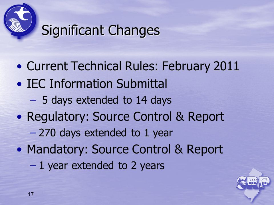 Significant Changes Current Technical Rules: February 2011