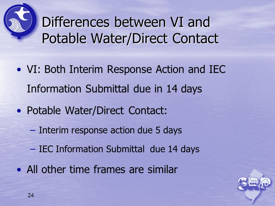 Differences between VI and Potable Water/Direct Contact