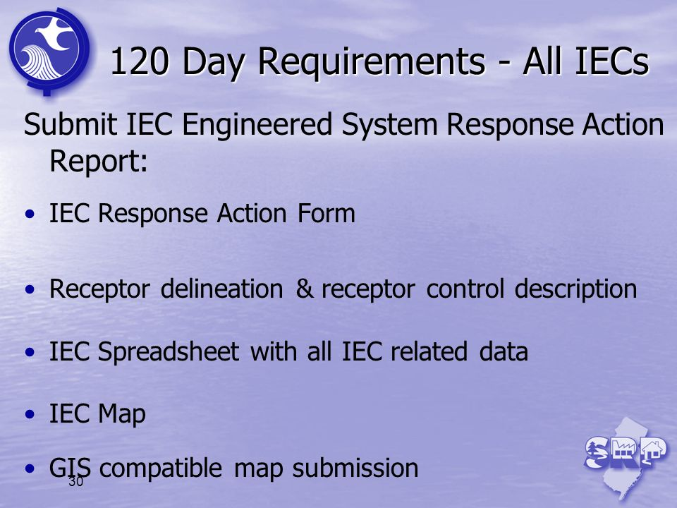 120 Day Requirements - All IECs