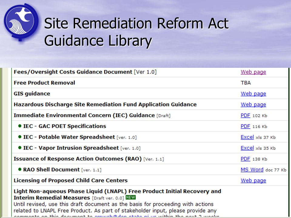 Site Remediation Reform Act Guidance Library