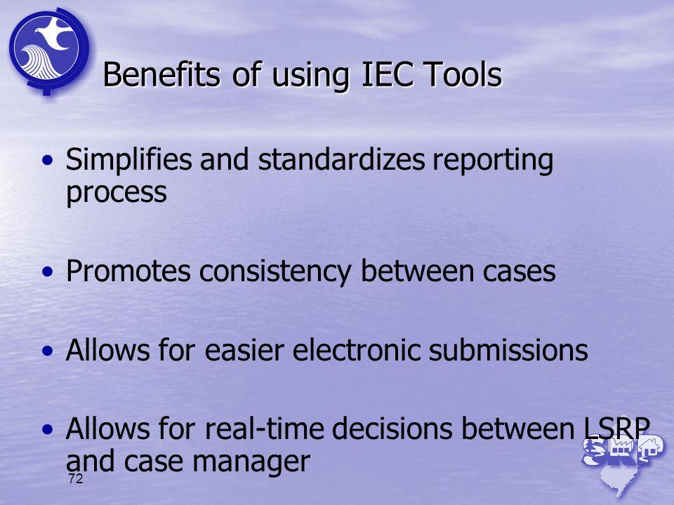 Benefits of using IEC Tools