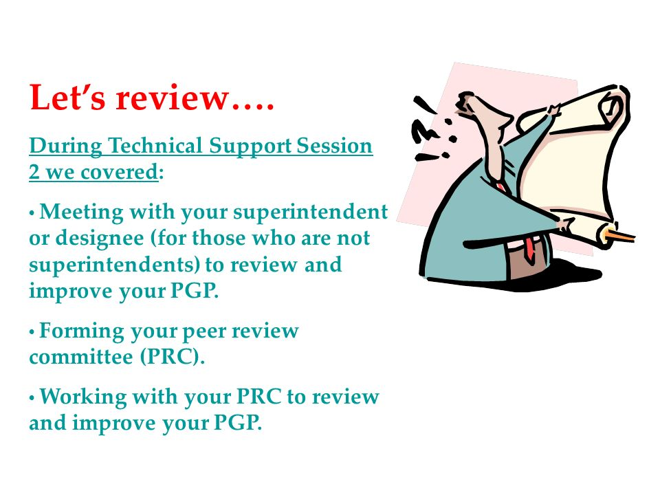 Let's review…. During Technical Support Session 2 we covered: