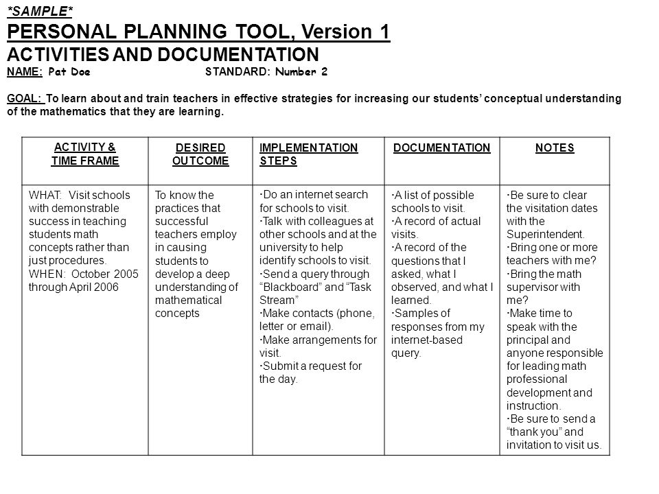 PERSONAL PLANNING TOOL, Version 1