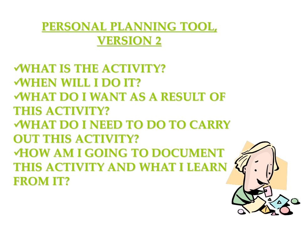 PERSONAL PLANNING TOOL, VERSION 2