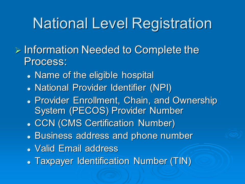 National Level Registration