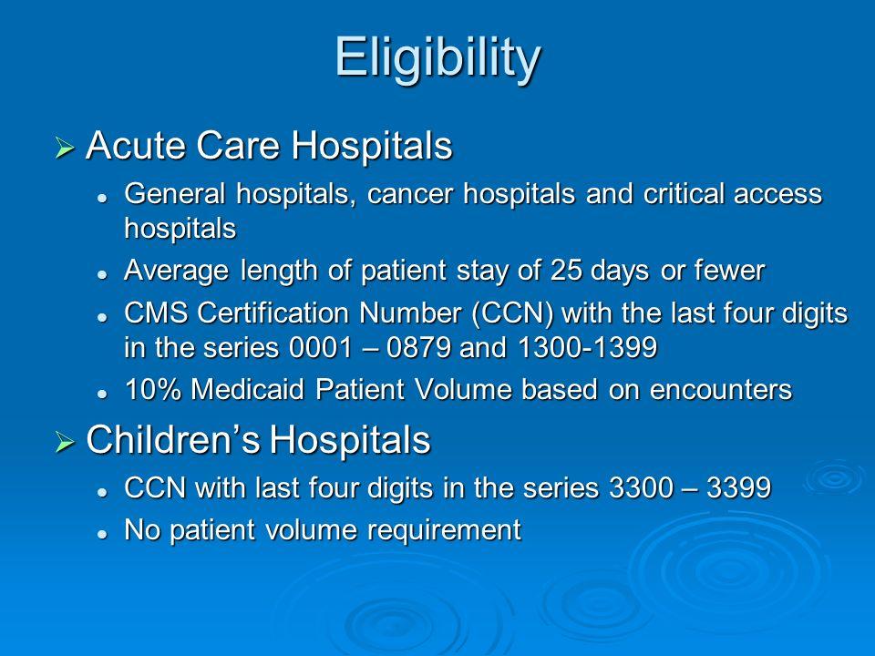 Eligibility Acute Care Hospitals Children's Hospitals