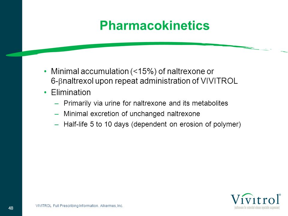 Pharmacokinetics Minimal accumulation (<15%) of naltrexone or 6-naltrexol upon repeat administration of VIVITROL.