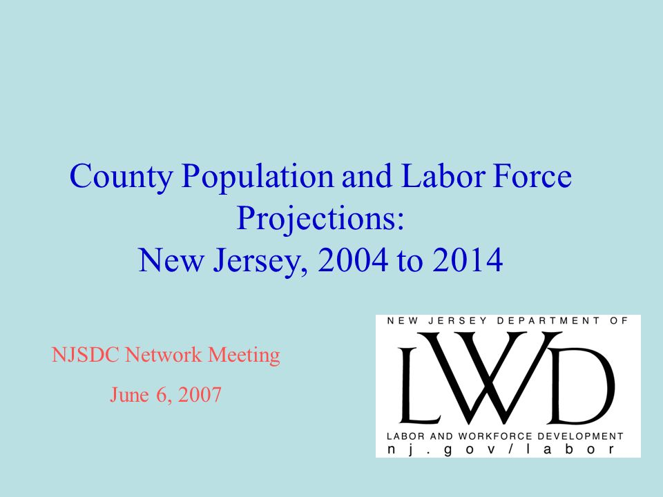 County Population and Labor Force Projections: New Jersey, 2004 to 2014