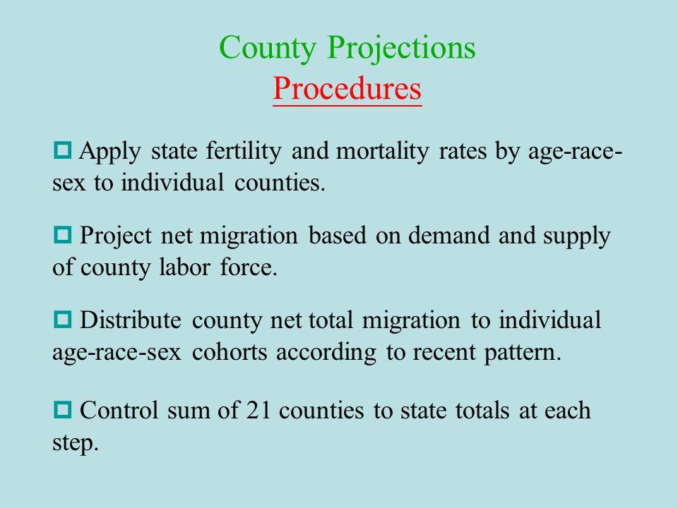 County Projections Procedures
