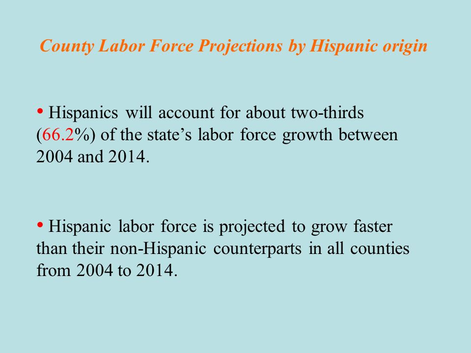 County Labor Force Projections by Hispanic origin