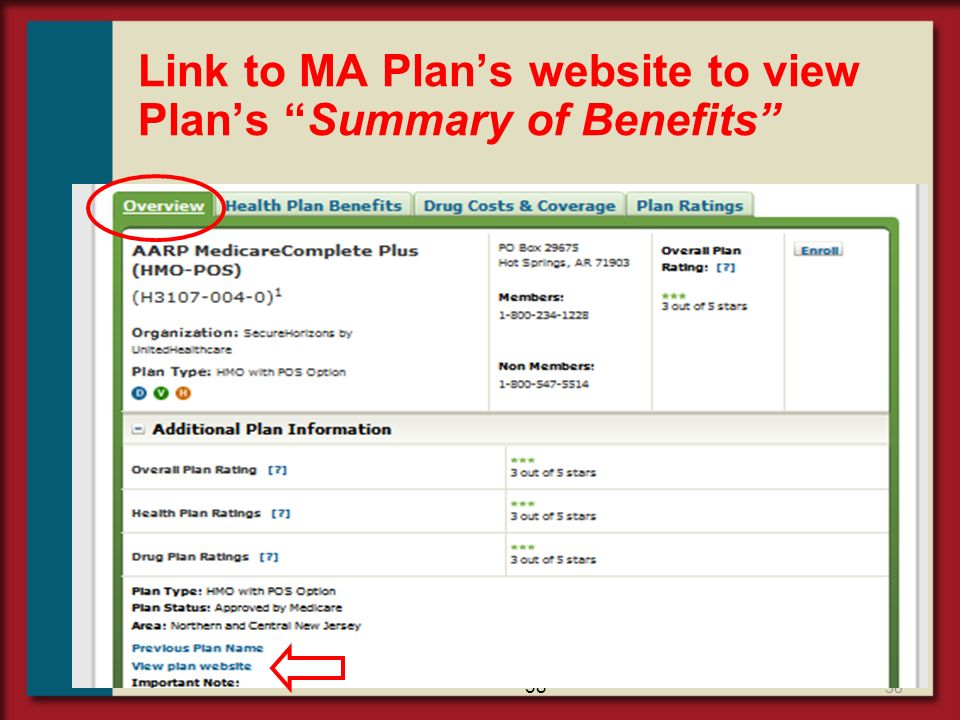 Link to MA Plan's website to view Plan's Summary of Benefits
