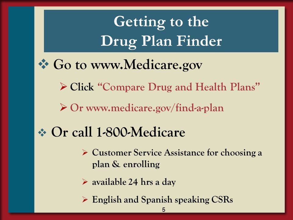 Getting to the Drug Plan Finder