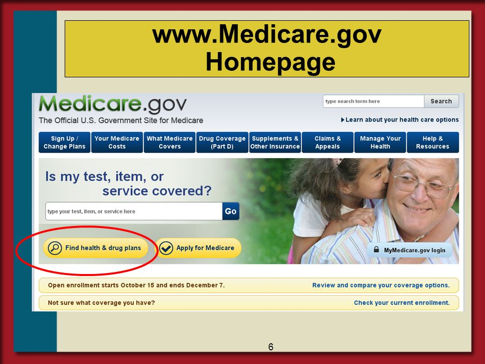 www.Medicare.gov Homepage