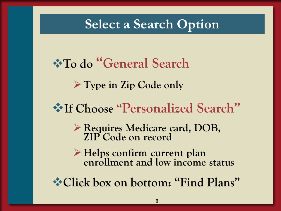 Select a Search Option To do General Search