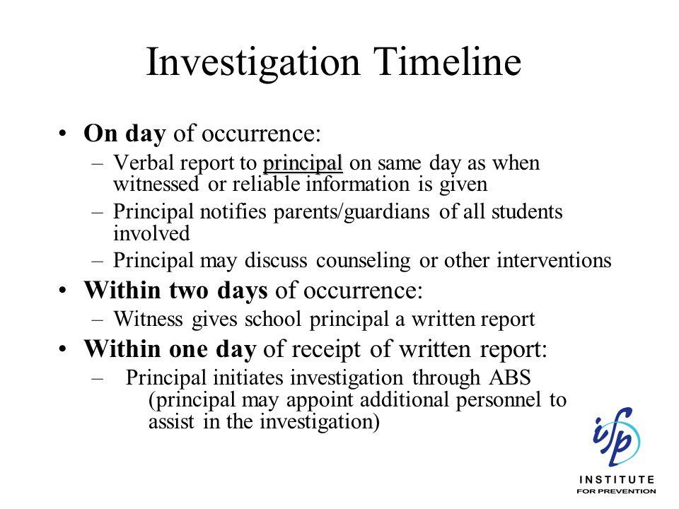 Investigation Timeline