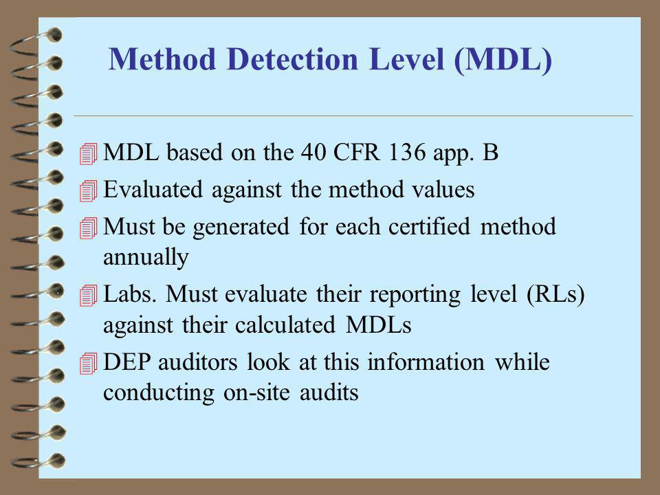 Method Detection Level (MDL)