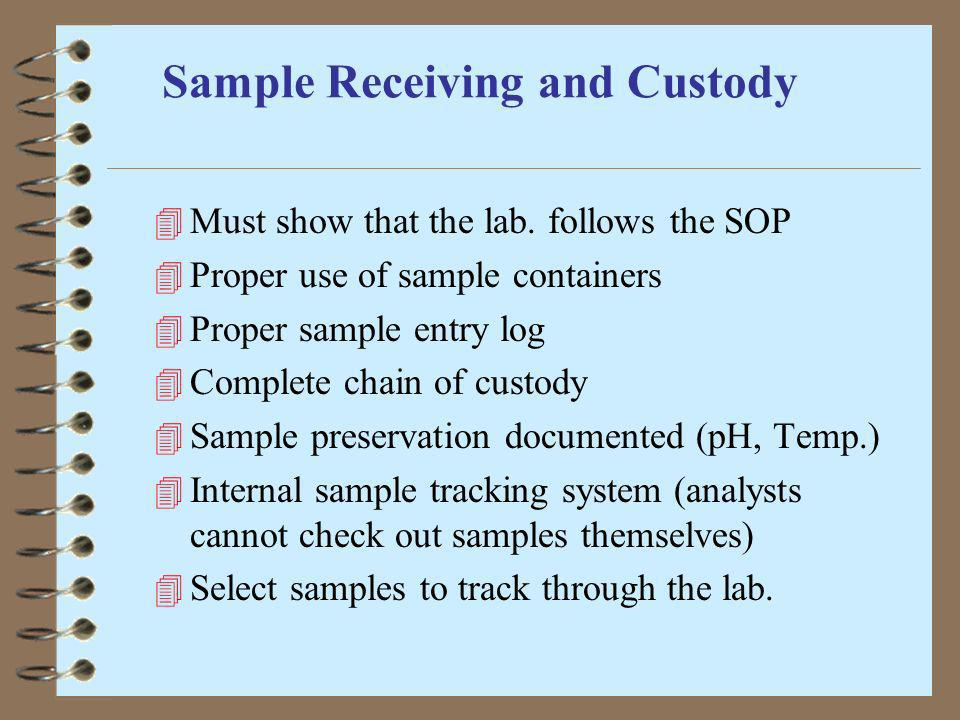Sample Receiving and Custody