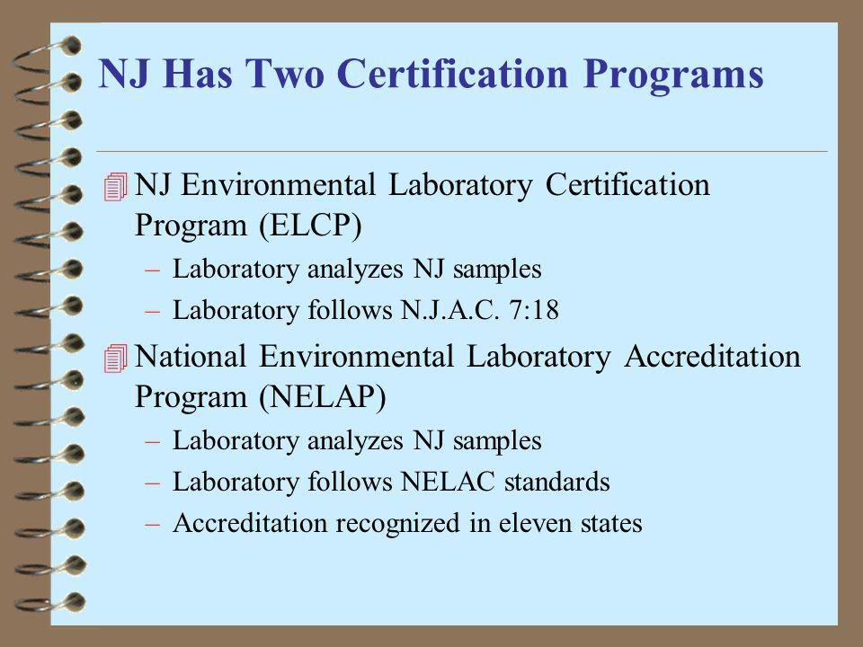 NJ Has Two Certification Programs