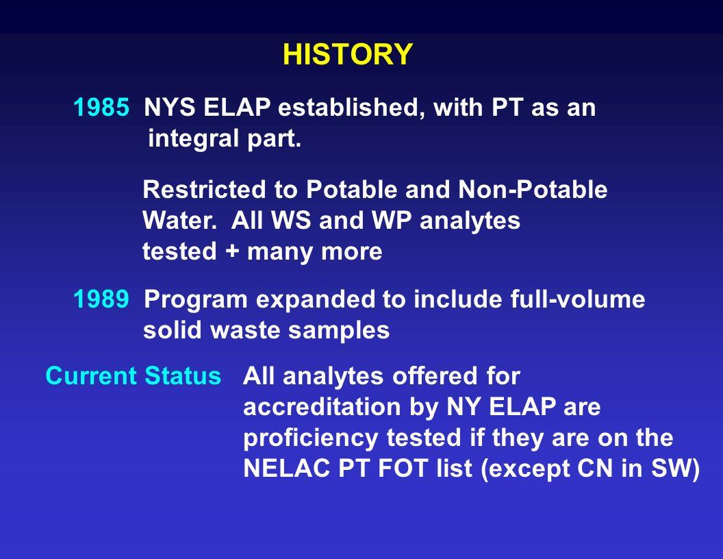HISTORY 1985 NYS ELAP established, with PT as an integral part.