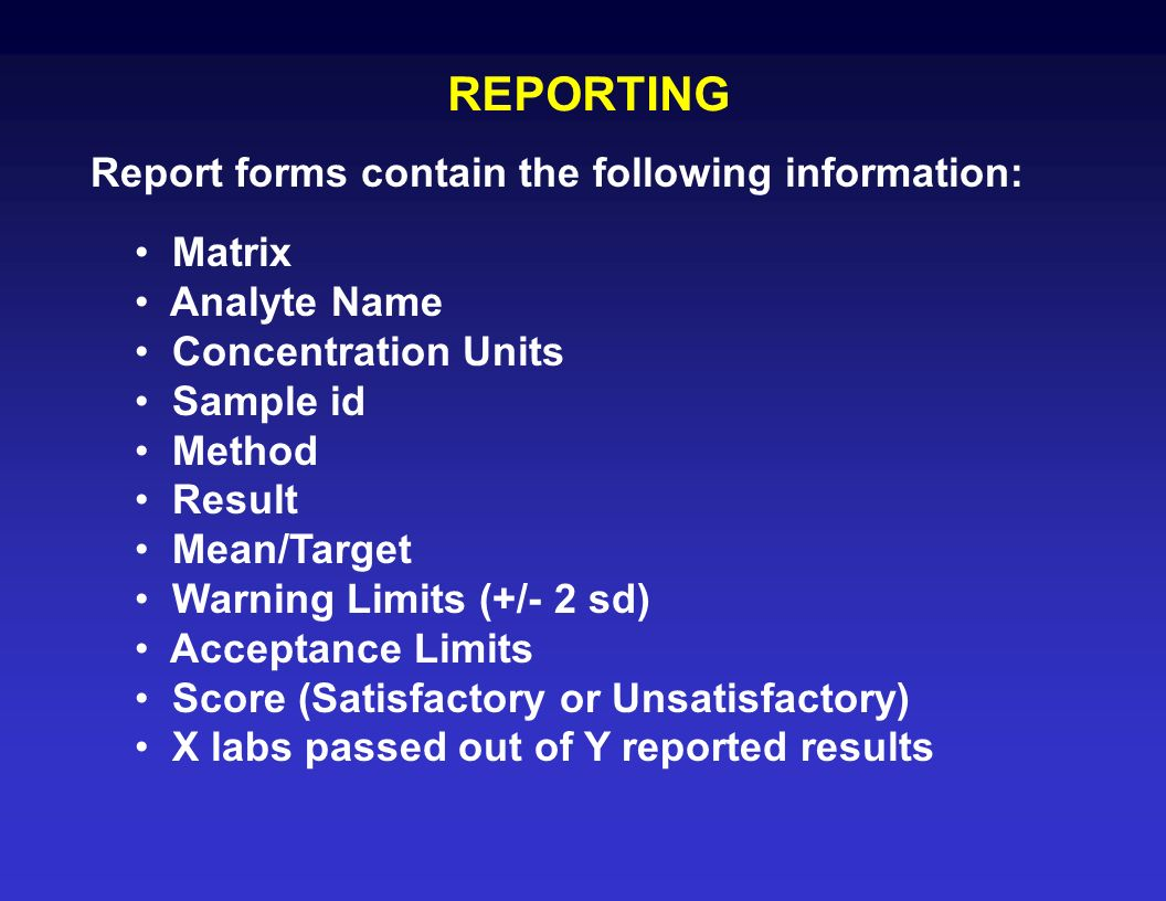 REPORTING Report forms contain the following information: Matrix