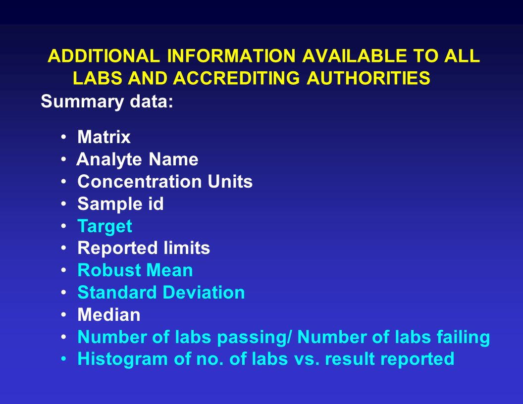 ADDITIONAL INFORMATION AVAILABLE TO ALL LABS AND ACCREDITING AUTHORITIES