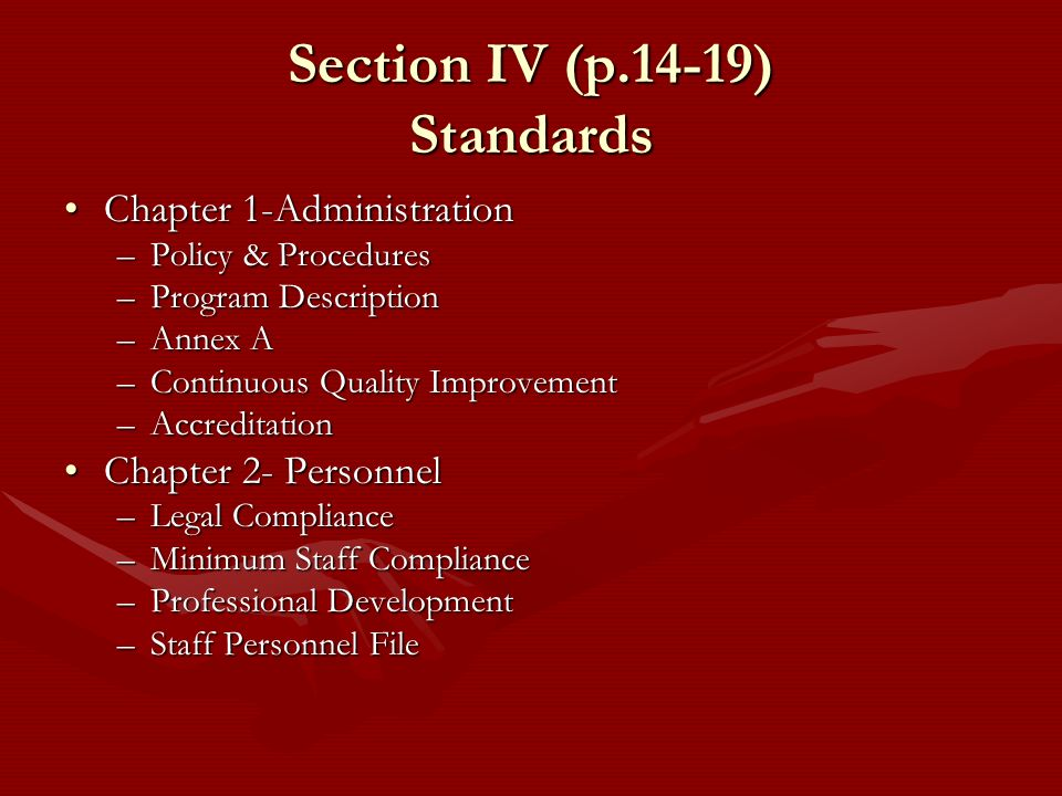 Section IV (p.14-19) Standards