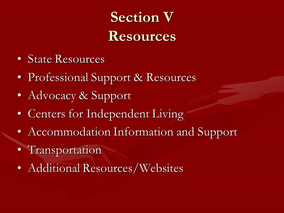 Section V Resources State Resources Professional Support & Resources