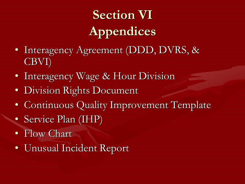 Section VI Appendices Interagency Agreement (DDD, DVRS, & CBVI)