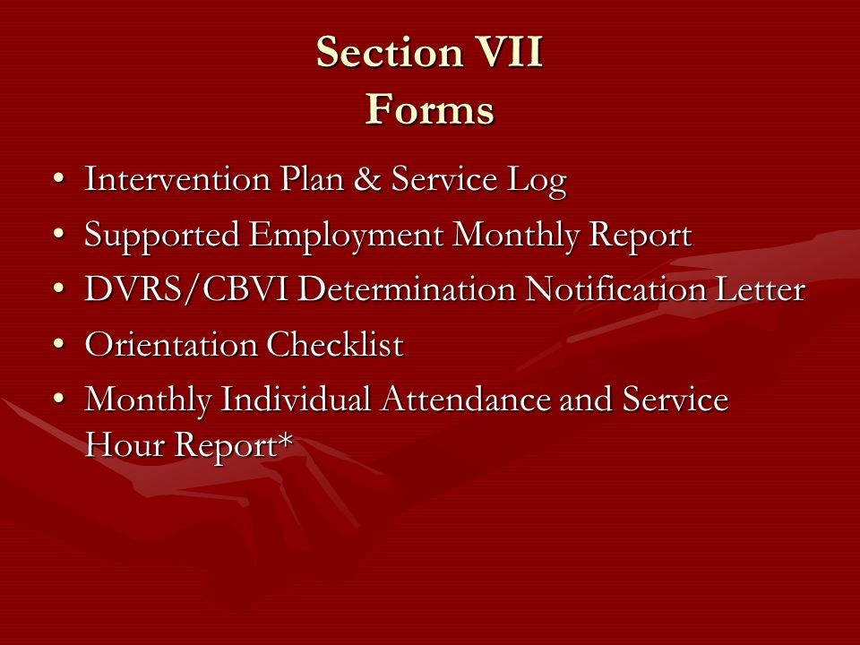 Section VII Forms Intervention Plan & Service Log
