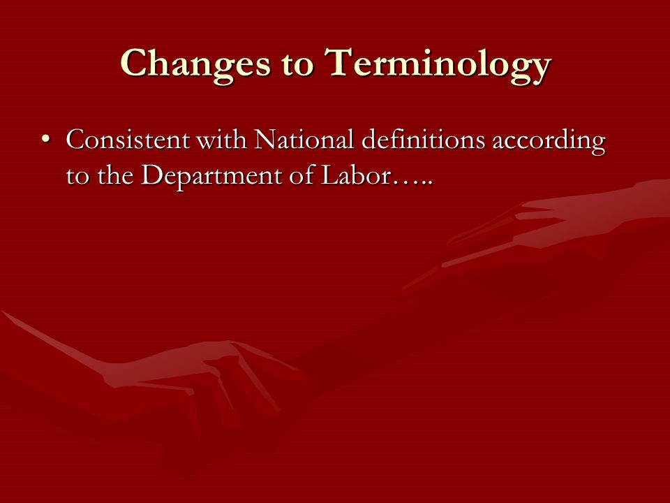 Changes to Terminology